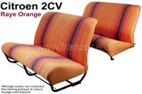 Seat bench covering 2CV, for 1 seat bench in front + 1 seat bench rear. Material: (Raye orange) streaked in colors orange - brown. The side panels are closed. Made in France. - 18804 - Der Franzose