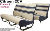 Seat bench covering 2CV (France 3 - Transat), for 1 seat bench in front + 1 seat bench rear. Material: white with blue strips. The side panels are closed. Made in France. - 18810 - Der Franzose
