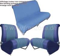 Covering AMI6 Club in front + rear. Suitable for 2 single seats in front (with map bag) + 1x seat bench rear. Material. Color: blue. Suitable only for Citroen AMI6. - 18613 - Der Franzose