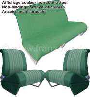 Covering AMI6 Club in front + rear. Suitable for 2 single seats in front (with map bag) + 1x seat bench rear. Material. Color: green. Suitable only for Citroen AMI6. - 18614 - Der Franzose