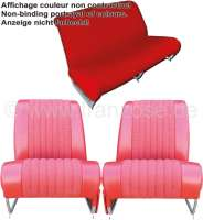 Covering AMI6 Club in front + rear. Suitable for 2 single seats in front (with map bag) + 1x seat bench rear. Material. Color: red. Suitable only for Citroen AMI6. - 18615 - Der Franzose