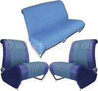 Covering AMI8 in front + rear. Suitable for 2 single seats in front (with map bag) + 1x seat bench rear (foldable). Material. Color: blue. Suitable only for Citroen AMI8. - 18601 - Der Franzose