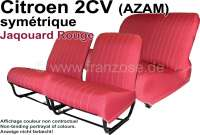 Covering 2CV (AZAM) in front + rear. Symetric backrest. Material: Jaqouard Rouge - Jaune (basic color red with yellow spots). For 2 seats in front and 1 seat bench rear. The side panels are closed. Made in France. - 18805 - Der Franzose