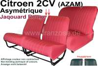 Covering 2CV (AZAM) in front + rear. Asymetric backrest. Material: Jaqouard Rouge - Jaune (basic color red with yellow spots). For 2 seats in front and 1 seat bench rear. The side panels are closed. Made in France. - 18806 - Der Franzose