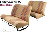 Covering 2CV completely, for 1 seat bench in front + 1 seat bench rear. Material (beige Raye 1666) in colors beige - brown, red streaked. (Original Design from the seventies). Made in France. - 18655 - Der Franzose