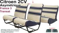 Covering 2CV (France 3 - Transat)) in front + rear. Asymmetric backrest. Material: white with blue strips. For 2 seats in front and 1 seat bench rear. The side panels are closed. Made in France. - 18808 - Der Franzose