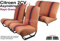 Covering 2CV in front + rear. Asymetric backrest. Material: (Raye orange) streaked in colors orange - brown. For 2 seats in front and 1 seat bench rear. The side panels are closed.   18803   Der Franzose - www.franzose.de