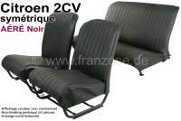 Covering 2CV, in front + rear. Symetric backrest. Vinyl black (AÉRÉ), pierced, perforated surface. For 2 seats in front and 1 seat bench rear. The side panels are closed.   18811   Der Franzose - www.franzose.de
