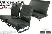 Covering 2CV, in front + rear. Asymetric backrest. Vinyl black (AÉRÉ), pierced, perforated surface. For 2 seats in front and 1 seat bench rear. The side panels are closed.   18812   Der Franzose - www.franzose.de