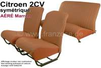 Covering 2CV, in front + rear. Symetric backrest. Vinyl light brown (Marron - AÉRÉ), pierced, perforated surface. For 2 seats in front and 1 seat bench rear. The side panels are closed.   18813   Der Franzose - www.franzose.de