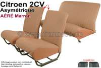 Covering 2CV, in front + rear. Asymetric backrest. Vinyl light brown (Marron - AÉRÉ), pierced, perforated surface. For 2 seats in front and 1 seat bench rear. The side panels are closed.   18814   Der Franzose - www.franzose.de