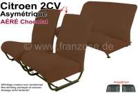 Covering 2CV, in front + rear. Asymetric backrest. Vinyl brown (Chocolat - AÉRÉ), pierced, perforated surface. For 2 seats in front and 1 seat bench rear. The side panels are closed.   18816   Der Franzose - www.franzose.de
