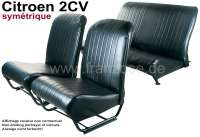 Covering 2CV, in front + rear. Symetric backrest. Vinyl black (smooth surface). For 2 seats in front and 1 seat bench rear. The side panels are closed.   18818   Der Franzose - www.franzose.de