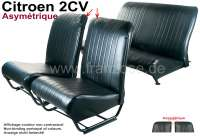 Covering 2CV, in front + rear. Asymetric backrest. Vinyl black (smooth surface). For 2 seats in front and 1 seat bench rear. The side panels are closed.   18819   Der Franzose - www.franzose.de