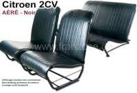 Covering 2CV, in front + rear. Suitable for symetric + asymetric backrest. Vinyl black, smooth surface. For 2 seats in front and 1 seat bench rear. The side panels are open!!   18827   Der Franzose - www.franzose.de