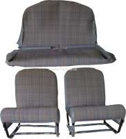 Interior equipment Club 2CV6. Consisting of: 1x seat on the left, completely referred (without backrest adjustment), 1x seat on the right completely referred, 1x cover for the rear seat. (the rear seat bench must be referred). The front seats are built up ready for assembly and with new seat frames. Color: Material (Ecossais) in blue - grey, with colored strips. - 18474 - Der Franzose