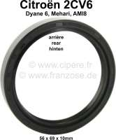 Shaft seal crankshaft rear, for Citroen 2CV6. Measurements: 56x69x10mm - 10024 - Der Franzose