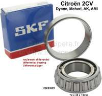Differential bearing for Citroen 2CV6. Manufacturer SKF!  Inside diameter: 35mm, Outside diameter: 72mm, overall height completely: 19mm. Taper roller bearing. Or.Nr.: 26203529 - 10273 - Der Franzose
