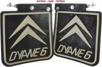 Dyane, splash guard set rear, for re-tooling (2 item, with Logo). Suitable for Citroen Dyane. - 90923 - Der Franzose