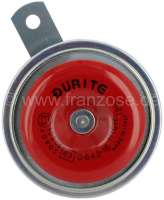 Horn 12 V, high tone. 430Hz, 114dB (A). Very high quality horn, made in the European Union. The horn is from the front in red painted! Universal fitting. Diameter: about 91mm. Metal housing. ECE checked. - 14580 - Der Franzose