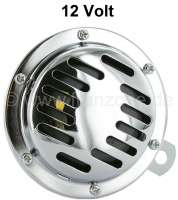 Horn, 12Volt. Universal fitting. Diameter 100mm! The horn is chromium-plated. - 14160 - Der Franzose