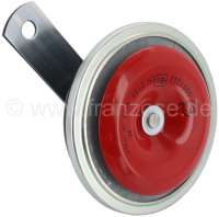 Horn 6 V, high tone. 430Hz, 114dB (A). Very significant horn, made in the European Union. The horn is from the front in red painted! Universal fitting. Diameter: about 91mm. Metal housing. ECE checked. - 14582 - Der Franzose