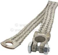 Ground cable (battery ground strap), with battery pole clamp ring tongue. Length: 350mm. Cable diameter: 22mm ². Made in the European Union. Universal fitting. - 14567 - Der Franzose