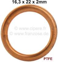 Gasket for oil drain plug for 2CV6, BX, XM, 204, 203, 304, 404, 504. inlet + exhaust screw, measure: 16,3x22x2mm. Version C, curved with a seal inside. (PTFE) - 10001 - Der Franzose