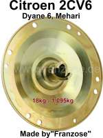Belt pulley (fan blade + V-belt), better than original (Made by Franzose). Suitable for Citroen 2CV6, Dyane, Mehari. The belt pulley has been rotated from a 18kg steel block DIN 1,0501 (AISI/SAE 1040, EN C35). Fine balanced pulley, thus avoiding much pressure on the crankshaft. No risk of tearing off as it is not welded. Belt pulley is yellow galvanised (like original). Made by Franzose/Cipere, entire production process in Europe. - 10659 - Der Franzose