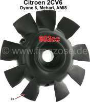 Fan blade for 2CV6, 9 vanes, color black. Original supplier. Securement with 6 screws. - 10518 - Der Franzose