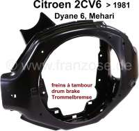 Engine fan case (for drum brake). Suitable for Citroen 2CV6, Dyane, AK, Mehari. Reproduction - 10269 - Der Franzose