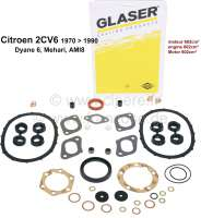 2CV6, 602ccm, engine gasket set inclusive. Shaft seals and ventil stem sealing. Suitable for Citroen 2CV6 starting from year of construction 1970 to 1990. Label quality - 10137 - Der Franzose