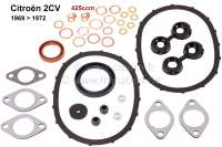 2CV, 425ccm, engine gasket set inclusive shaft seals. Bore 66mm. Installed from year of construction 1969 to 1972. Suitable for Citroen 2CV. - 10140 - Der Franzose