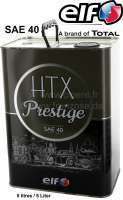 HTX Prestige - Developed for classic cars built between the 1900s and 1950s. 5 Liter tin can. ELF HTX Prestige is for classics from a bygone automotive era. HTX Prestige mineral engine lubricant has a high viscosity to ensure minimal oil loss and Multigrade technology to avoid low-temperature oil circulation issues. The oil is available at SAE 40 grade for vehicles built between 1900 and 1950 without an oil filter or cyclone separator (Citroen 11CV...........)  Used oil should be chucked and recycled according to official prescriptions. Please bring used oil to collecting points for used oil recycling. - 20015 - Der Franzose
