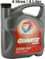 Engine oil TOTAL Quartz 5000, viscosity 20W50. Can of 4 liters. Optimally e.g. for Citroen 2CV. 2,6 liters for the oil change, the remainder to the refill up to the next oil change. Liter price: 4.98 Euro | 21142 | Der Franzose - www.franzose.de