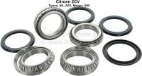 Radius arm bearing set, suitable for Citroen 2CV, Dyane, Ami. Consisting of: 4x radius arm bearing, 4x shaft seal radius arm bearing, 2x split pin for radius arm nut. - 12372 - Der Franzose