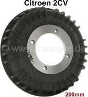 Drum in front. Suitable for Citroen 2CV. 200mm diameter, 4x securement. The drum is outside ripping (small drum, not suitable for 2CV Van). Per piece. - 90931 - Der Franzose