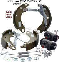Brake shoe set in front, with wheel brake cylinders (piston 28,57mm). Suitable for Citroen 2CV4 + 2CV6, starting from year of construction 03/1970. Dyane 4. Brake system: DOT. Original Valeo, no reproduction. Brake line connector: 8,0mm. For drum diameter: 200mm. Lining-wide: 36mm. Or. No. 95618228 - 13245 - Der Franzose