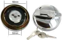 Fuel filler cap chromium-plates, lockable. Reproduction of the original. Suitable for 2CV/DS/11/HY/AK. Before use the lock, please lubricate it! Note: Latches and open the fuel filler cap only by a 1/4 turn!  Otherwise the closing teeth can be damaged.   16879   Der Franzose - www.franzose.de
