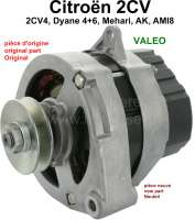 Alternator 2CV6 + 2CV4, 12 Volt (original manufacturer Valeo). New part! Suitable for Citroen 2CV, Dyane, Mehari. Installed to year of construction 1990. No old part return necessary! - 14299 - Der Franzose