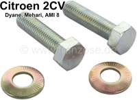 Screw set (2 item) for the securement the lever (parking brake) at the brake caliper. Suitable for Citroen 2CV6, Dyane, Mehari, AMI8. - 13237 - Der Franzose