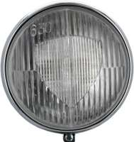 Auxiliary headlight: Fog headlight largely, type Marchal 630. Optically like original. Universal fitting. This headlamp was an original related accessory for Citroen 11CV. Diameter: 160mm. The case is chromium-plated and made of metal. Without