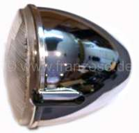 Headlamp chromi-plated with H4 reflector, for Citroen 2CV + HY. Reproduction from India! Original form, plastic case chrom-plated. Installed until 1990! Without bulbs. - 14405 - Der Franzose