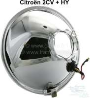 Headlight insert round, H4. Suitable for Citroen 2CV, HY. Per piece. Reproduction. Manufactured in India. -1 - 14002 - Der Franzose