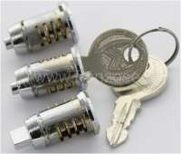 2CV old/Mehari/HY, door lock, lockcylinder set for old 2CV + Mehari, HY. 2x door lock (round pin) + 1x starter lock (angular pin)! With vehicles with starter button! -1 - 16187 - Der Franzose