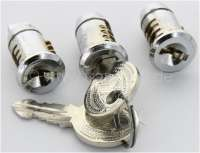 2CV old/Mehari/HY, door lock, lockcylinder set for old 2CV + Mehari, HY. 2x door lock (round pin) + 1x starter lock (angular pin)! With vehicles with starter button! -2 - 16187 - Der Franzose