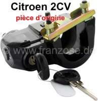 Starter+lock+completely+%28Original%29%2C+for+Citroen+2CV+starting+from+year+of+construction+1974+%28without+starter+lock+contact+plate%29.+Inclusive+Key+%2B+U-shaped+bracket+for+the+securement+at+the+steering+column.+Connection%2C+in+direction+of+travel+seen%3A+above+malve+%28pink%29%2C+on+the+left+black+or+blue%2C+on+the+right+red.+Original+Citroen%2C+no+reproduction.+Made+in+France