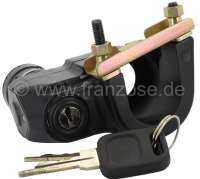 Starter lock completely, for Citroen 2CV starting from year of construction 1974. Inclusive Key + U-shaped bracket for the securement at the steering column. Connection, in direction of travel seen: above malve (pink), on the left black or blue, on the right red. - 14136 - Der Franzose