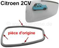 2CV, mirror glass with synthetic frame. Suitable for the original Citroen mirror. Fits on the left and on the right. Note: The mirror and the synthetic frame come from the original manufacturer. The mirror has the original thickness (there are reproductions, which break very easy)! The synthetic frame has the original holding pins. The change takes only 1-2 minutes. The problem of the mirrors is usually only that the glass become milky and the synthetic limit tears up. - 16392 - Der Franzose