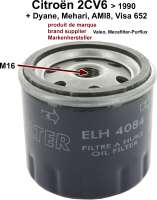 Oil filter for Citroen 2CV. Original or brand supplier (Valeo or Mecafilter-Purflux). (No replica). Suitable for Citroen 2CV + Visa 652, from model year 09/1971 on - 10000 - Der Franzose